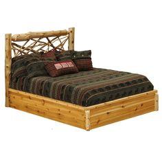 White Cedar log and twig platform bed.