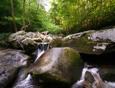 The Jacob Fork River with its trout population flows just past the campground. NC - South Mountains State Park