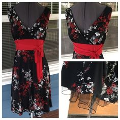 "SPEECHLESS Floral Dress SPEECHLESS Floral Dress.  V-neck. Sleeveless.   Lined skirt with black netting slip.  Red tie.  B&W & red floral patterned stretchy polyester/spandex material.  Length 37"" (shoulder to hem) plus 2"" black slip netting.  Great condition. Speechless Dresses"