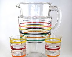 Retro Striped Juice Carafe with 2 glasses