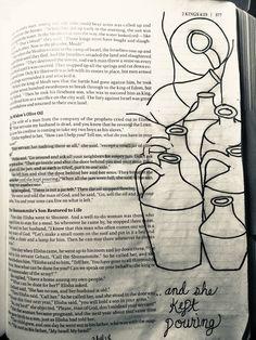 Widows oil jars with Elisha Bible Journaling Doodling Art, Doodle Art Journals, Prayer Journals, Bible Journal, Bible Art, Bible Scriptures, Finish Strong, Uplifting Words, Keeping A Journal