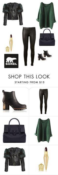 """Kick Up the Leaves (Stylishly) With SOREL: CONTEST ENTRY"" by sweet-97-1 ❤ liked on Polyvore featuring SOREL, AG Adriano Goldschmied, Versace, Marc Jacobs, Christian Louboutin and sorelstyle"