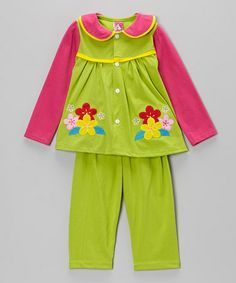 Look what I found on #zulily! Green & Hot Pink Flower Top & Pants - Infant & Toddler by the Silly Sissy #zulilyfinds
