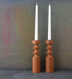 Danish Modern Candle Holders  Turned Wood Teak by KOLORIZE on Etsy, $50.00
