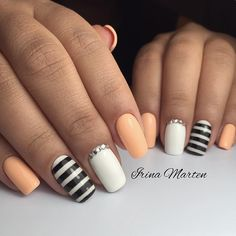Peach, black and white stripes, and rhinestones!