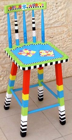 funky painted wood chairs   Painted Chairs