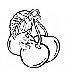 Three Cherries Coloring Page For Kids Fruits Pages Printables Free