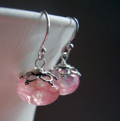 Strawberries and Champagne Quartz Earrings by SueanneShirzay, etsy