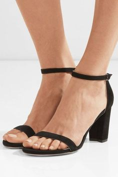 Heel measures approximately 65mm/ 2.5 inches Black suede Buckle-fastening ankle strap Made in Spain