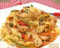 Macarrones con pollo y verduras