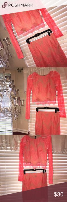 Lace two piece dress Neon coral, two piece, size large, never been worn-NWT! Dresses