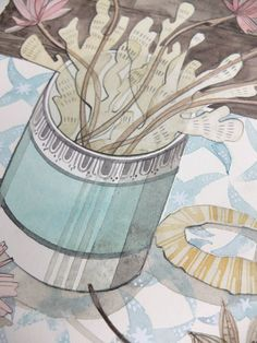 Love the colours, the lines, the mood. Angie Lewin - still life watercolour detail