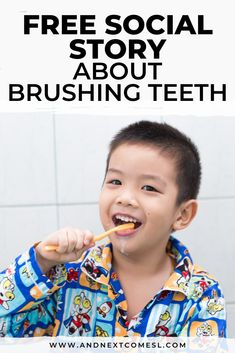 Looking for free social stories? Then you'll love this free printable social story about how to brush your teeth that features full color photos. It's great for preschoolers and/or kids with autism and can be used at home or for school. Social Skills Lessons, Social Skills Activities, Teaching Social Skills, Teaching Kids, Life Skills, Autism Preschool, Preschool Special Education, Adhd Kids, Children With Autism