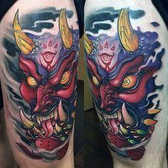 50 Majora's Mask Tattoo Designs For Men - The Legend Of Zelda Ideas Hannya Maske Tattoo, Oni Mask Tattoo, Wolf Tatoo, Legend Of Zelda Tattoos, Majora Mask, Japan Tattoo Design, Tattoo Video, Mushroom Tattoos, Fusion Ink