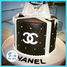 black and white chanel birthday cake nj custom cakes. www.bluesheepbakeshop.com Custom cakes in NJ! 732.667.7557