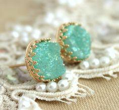 Mint Druzy studs earrings Green seafoam 14k Gold by iloniti