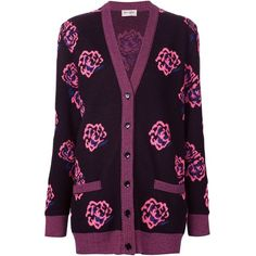 Saint Laurent Floral Print Cardigan ($740) ❤ liked on Polyvore featuring tops, cardigans, all tops, kirna zabete, oversized cardigan, ribbed long sleeve top, purple cardigan, v neck long sleeve top and long sleeve cardigan