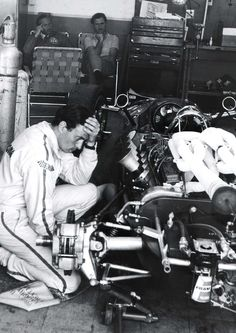 Stumped - Jim Clark (Colin Chapman & Graham Hill in the background)