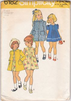 Simplicity 6182 Little Girls Sewing Pattern / Vintage Girls / Childs Dress and Coat / Size 4 B Childrens Sewing Patterns, Simplicity Sewing Patterns, Vintage Sewing Patterns, Coat Pattern Sewing, Coat Patterns, Clothing Patterns, Little Girls Fancy Dresses, Girls Dresses, Patron Vintage