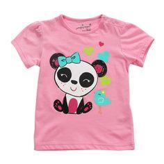 Sale 23% (8.39$) - Little Maven Baby Girl Children Panda Red Cotton Short Sleeve T-shirt Top