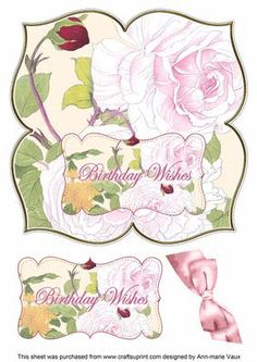 Pink Rose Birthday Wishes 8in Large Blooms Fancy Topper on Craftsuprint - Add To…