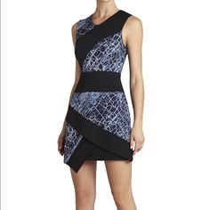 HP BCBG dalia dress Blue and black crackle print structured dress. Worn once for a fashion show! Perfect condition BCBGMaxAzria Dresses