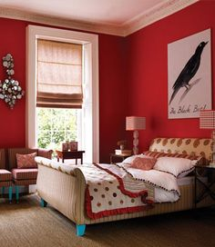 I adore this red bedroom, fabulous...and that blackbird! Touches of turquoise and red striped lampshades...awesome!