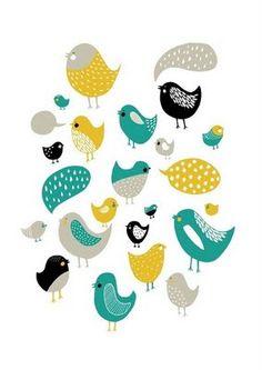 cute little drawn birds