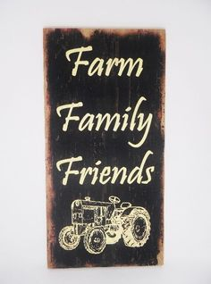 Hanging Wood Farm Family Friends with Tractor Sign Primitive Country Wall Decor #Unbranded #PrimitiveCountryRustic