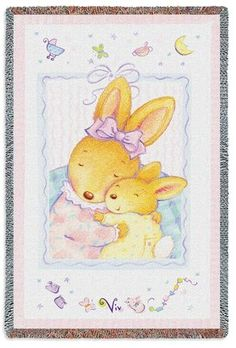 Cute huggable mother and baby inspired animal blanket. This Baby Bunny Hugs Mini Tapestry Throw is perfect for your daughter.