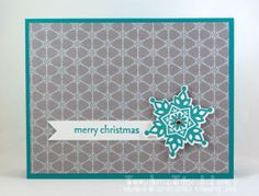 Snowflake Christmas Card with Winter Frost paper #stampinup