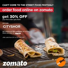 Won't be able to make it? Order from Zomato! 23rd, 24th & 25th February |  12:00 Noon - 11:00 PM Akash Aman Party Plot, Near Shreyas Crossing  #Events #Festival #StreetFoodFest #Order #OrderFoodOnline #HomeDelivery #Zomato #Discounts #Cart #Restaurants #Cafes #Food #StreetFood #FoodFiesta #Multicuisine #StreetFoodFestival #AkashAmanPartyPlot #CityShorAhmedabad