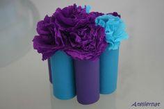 Bouquet de fleurs en papier crépon # récup' PQ rolls # atelier enfant http://ateliernatblog.canalblog.com
