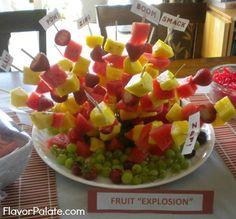 Fruit Explosion for spy party Spy Birthday Parties, Fruit Birthday, Spy Party, 9th Birthday, Birthday Ideas, Spy Cake, James Bond Party, Fruit Skewers, Cut Watermelon