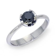 BLACK CUP Silver Engagement Ring, Black Gemstone Ring,  Solitaire Silver Gemstone Ring by Arosha