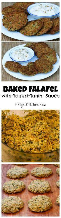 Baked Falafel Patties Recipe with Yogurt-Tahini Sauce (Meatless) [from KalynsKitchen.com]