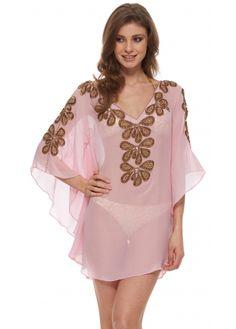 Lindsey Brown Carnival Collection Rumba Baby Pink Gold Beaded Silk Kaftan