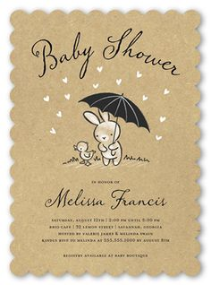 Bunny Shower 5x7 Stationery Card by Stacy Claire Boyd   Shutterfly