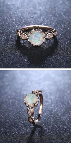 Jewelry Making Sea Glass Virant opal rose gold ring. Jewelry Making Sea Glass Virant opal rose gold ring Ring Set, Ring Verlobung, Golden Jewelry, Silver Jewelry, Diamond Jewelry, Silver Ring, Opal Gold Ring, 18k Gold, Opal Promise Ring