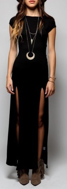 Women's sexy double deep side split slit maxi dress at amazon women's clothing store: