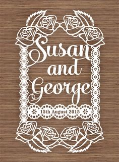 Wedding gift Names and Date PDF SVG (Commercial Use) Instant Download Digital Papercut Template