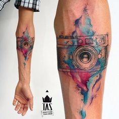 Camera colors and location. Could bleed down to puzzle piece tattoo Trendy Tattoos, Tattoos For Women, Tattoos For Guys, Cool Tattoos, Tatoos, Neue Tattoos, Body Art Tattoos, Sleeve Tattoos, Tattoo Ink