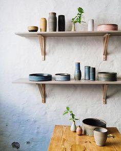Open shelves with handmade ceramics