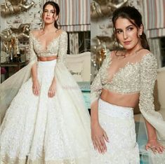 If you are a fan of whilte and looking forward to wear something white on your wedding then you are at right place. Check Elegant White Lehengas For Our Special Brides and Bridesmaids Indian Reception Outfit, Bride Reception Dresses, Wedding Dresses For Girls, Indian Wedding Outfits, Indian Outfits, Bridal Dresses, Girls Dresses, Lehenga Choli Designs, Ghagra Choli