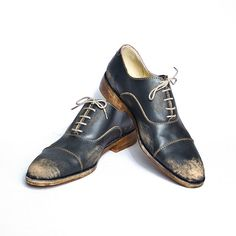 vintage inspired 1920s black beat up bespoke shoes by goodbyefolk, $225.00