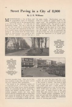 1926 Article: Murfreesboro TN Tennessee Street Paving in a City of 8,000