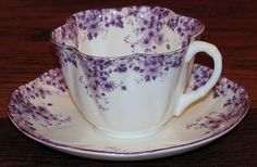 Dainty Shelley China Daisy Trio in Mauve - Excellent Condition