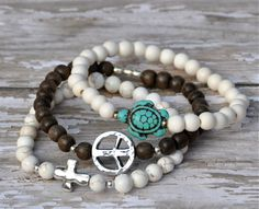 Sea Turtle Cross Peace Beaded Bracelets