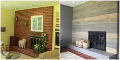 Replacing a midcentury brick fireplace with a faux barnyard wall overlay was an inexpensive way to give this living room a modern update, as spotted on Design*Sponge.   - HouseBeautiful.com