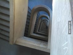 These are the stairs from a hospital in Uruguay where people usually jump when they get bad news